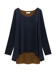 Plus Size Loose Patch Design O-Neck Long Sleeve T-Shirt & Tops - at Jollychic