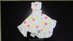 Carters white bear lovey Pink flowers rattle Satin trim security blanket #Carters