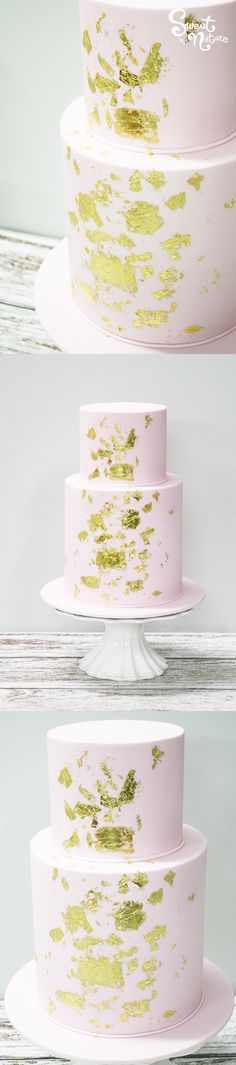 Two Tier Baby Pink Rolled Icing Spattered With Gold Leaf