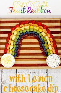 Pot O' Gold Fruit Rainbow with Lemon Cheesecake Dip! Fun, Festive & Healthy Treat! on MyRecipeMagic.com