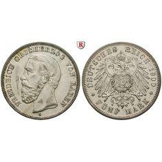 Deutsches Kaiserreich, Baden, Friedrich I., 5 Mark 1900, G, ss-vz, J. 29: Friedrich I. 1852-1907. 5 Mark 1900 G. J. 29;… #coins #numismatics