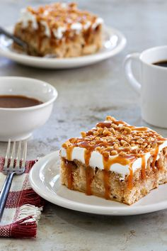 Caramel Apple Poke Cake is super simple to make. The caramel drizzle and toffee bits make it irresistible. This is the perfect dessert for fall!