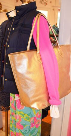Lilly Pulitzer Resort '13- Kate Puffer Vest, La La Leather Tote, and Middleton Palazzo Pant