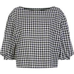 Sonia Rykiel Multi Gingham Peasant Blouse (505 AUD) ❤ liked on Polyvore featuring tops, blouses, boat neck blouse, peasant blouse, slash neck top, gingham top and boat neckline tops
