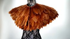 Feather cape. Large cape of beautiful tan brown feathers. Tribal feather cape perfect for Burning Man. 'Icarus'