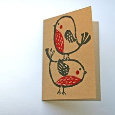 Pack of 4 robin Christmas cards, recycled card, hand printed with lino. £6.00