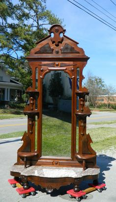 ~ Walnut Victorian Marble Top Mirrored Etagere ca. 1875 ~ ebay.com