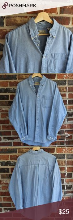 Vintage L.L. Bean Basic Denim Work Shirt Great condition 9/10  Fits true to size   All sales final. Please contact with any questions or offers!! L.L. Bean Shirts Casual Button Down Shirts