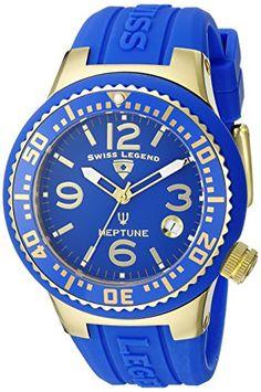 Swiss Legend Neptune Damen 44mm Kautschuk Armband Saphirglas Uhr 11044P-YG-03 - http://uhr.haus/swiss-legend/swiss-legend-neptune-damen-44mm-kautschuk-uhr-yg
