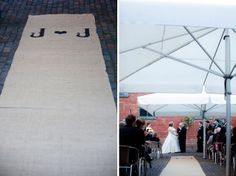 Tented Wedding Ceremony. Burlap Aisle Runner.Dallas Curow Photography.  Planning by the event room.  www.theeventroom.ca