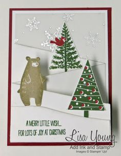 Stampin' Up! Thankful Forest Friends stamp set  and Festival of Trees stamp set. Tri-fold cascading card. Handmade Christmas card with forest animals. Lisa Young, Add Ink and Stamp