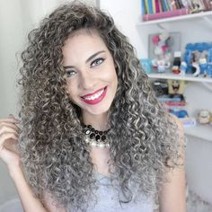 permed long curly hairstyle - silver perms look