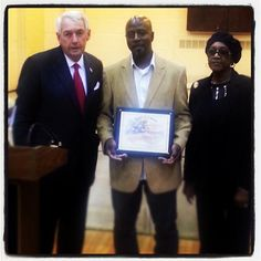 I was pleased to honor Steve St. Bernard, an MTA bus driver with a Citation of Honor for his act of heroism by helping to save the life of a young child who fell several stories from a building window.   Pictured along with Mr. St. Bernard is Rosia Wyche, his step-mother, and former Coney Island Houses Tenant Association President.