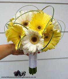 #gerbera daisy wedding Pretty yellow, green, and white wedding gerbera dais bouquet.