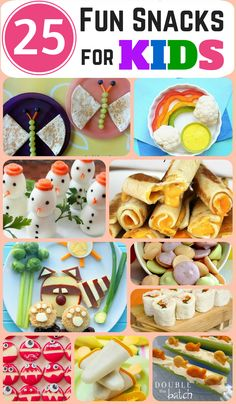 Looking for something fun AND healthy that you can whip up quickly for your kids? Trust me, they WILL actually eat these! Here are 25 fun and healthy snacks for kids that we found!