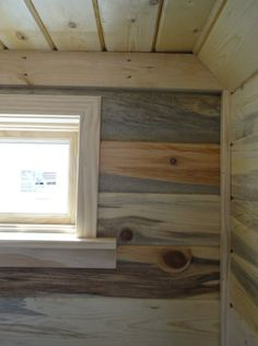 Tiny House window trim and beetle-kill / blue-stain pine wall paneling detail. Look at the range of colors in the pine! Shane really made a feature wall on the back highlighting the natural grain in the pine tongue-and-groove. Plywood Interior, Plywood Walls, Interior Walls, Tongue And Groove Walls, Pine Design, Pine Walls, Cabin Interiors, Ship Lap Walls, Bedroom Wall