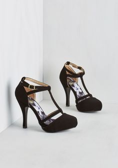 Snappy and Strappy Heel in Ink - High, Faux Leather, Black, Solid, Wedding, Party, Girls Night Out, Graduation, Homecoming, Minimal, Good, T-Strap, Variation