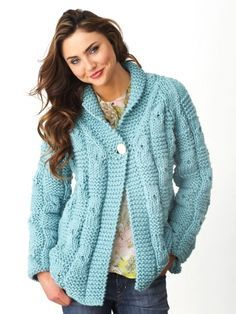 Textured Checks Cardigan | Yarn | Free Knitting Patterns | Crochet Patterns | Yarnspirations