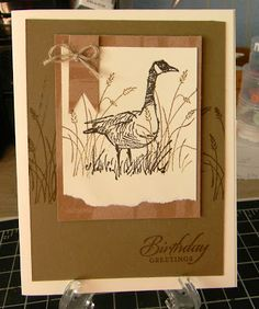 Cards For Men - wetlands stamps, torn card stock, jute bow