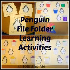 Tots and Me: Penguin File Folder Learning Activities for Color Sorting, Word Families, and Math Facts File Folder Activities, File Folder Games, Literacy Activities, File Folders, Preschool Curriculum, Winter Activities For Kids, Toddler Activities, Preschool Winter, Animal Activities