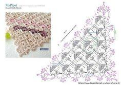 Crochet Shawls And Wraps, Crochet Poncho, Crochet Scarves, Crochet Clothes, Crochet Bunny, Crochet Baby Hats, Crochet Diagram, Crochet Chart, Crochet Triangle