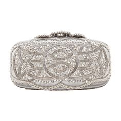 Oscar De La Renta Crown Goa Evening Clutch (19 210 SEK) ❤ liked on Polyvore featuring bags, handbags, clutches, purses, oscar de la renta, special occasion clutches, white handbags, evening purse, handbags & purses and holiday purses