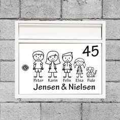 Familie postkasse stickers