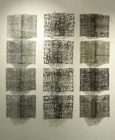 Drawings and calligraphic artworks created with paper pulp. The paper is used as if it were ink and not the traditional support. Book Sculpture, Wall Sculptures, Book Installation, Textiles, Handmade Books, Bookbinding, Contemporary Artists, Textile Art, Book Design