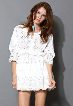 Cute White Boho Totem Eyelet Cotton Dress