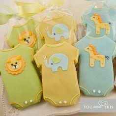 Items similar to Baby Cookies, Animal Baby Shower Cookies, Elephant, Giraffe, Lion - 30 Decorated Sugar Cookie Favors on Etsy Onesie Cookies, Baby Cookies, Baby Shower Cookies, Cute Cookies, Baby Shower Favors, Baby Shower Themes, Baby Boy Shower, Cookies Et Biscuits, Sugar Cookies