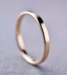 Polished 2 mm Yellow Gold Band by LilyEmme Jewelry   Scoutmob Shoppe