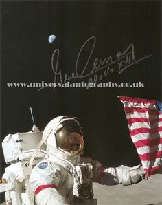 Gene Cernan - the last man on the Moon.  Signed photograph available on the website http://www.universalautographs.co.uk/apollo-17---gene-cernan-1-104-p.asp