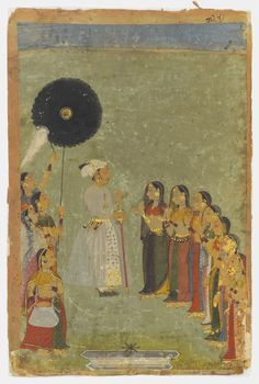 PRINCE AMAR SINGH AND COURTIERSMEWAR, NORTH INDIA, CIRCA 1695Opaque pigments heightened with gold on paper, the ruler depicted standing facing right, wearing a white turban with gold sarpech, dressed in a white tunic held with gold and white sash with floral motifs, his right hand holding a sword, his left raised, addressing a group of female courtiers in a garden, a fountain in the foreground, his female standard, flywhisk and fan bearers behind him15¼ x 10¾in. (41.1 x 27.3cm.)