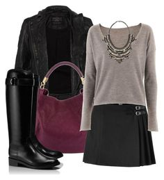 """Leather Jacket and Riding boots"" by queenvictorias on Polyvore featuring AllSaints, Yves Saint Laurent, McQ by Alexander McQueen, Tory Burch, Deepa Gurnani, women's clothing, women's fashion, women, female and woman"
