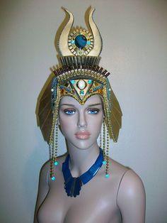 Cleopatra Headdress, Egyptian Headdress, Kentucky Derby, Halloween Costume, Fantasy Fest, Burning Man, Rave Festival