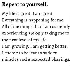 Positive Affirmations and Self Talk is so important - Practice them daily! Great Quotes, Me Quotes, Motivational Quotes, Inspirational Quotes, Cover Quotes, Famous Quotes, Positive Thoughts, Positive Quotes, Positive Mind