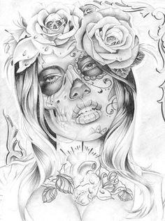 """Tradicionalmente, los tatuajes (tattoo) de calaveras mexicanas han simbolizado la muerte con una """"M"""" mayúscula, ¡pero no de una manera siniestra o negativa! Si hay un hecho innegable en este planeta, es que ningún ser humano escapa de la Parca, por rico o famoso que sea.! Day Of The Dead Tattoo Sleeve, Day Of The Dead Girl Tattoo, Day Of The Dead Drawing, Day Of The Dead Skull, Tattoo Girls, Girl Tattoo Images, Girl Tattoos, Tattoos For Guys, Tatoos"""