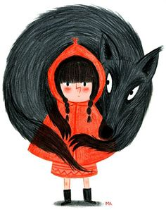 Red Riding Hood Illustration by Melanie Allag on Moufle, little red ridding hood, little red ridding hood illustration Little Red Hood, Little Red Ridding Hood, Red Riding Hood, Illustration Inspiration, Illustration Art, Food Illustrations, Charles Perrault, Big Bad Wolf, Art Plastique