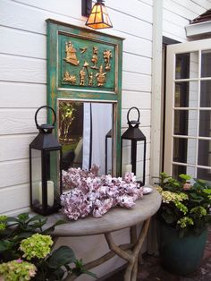 Outdoor Pavilion with Mirror and Lanterns