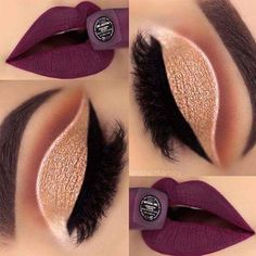 Dark Burgundy Pure Lips With Shimmery Golden Eyes