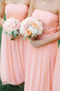 peach Wedding bridesmaids' dresses.