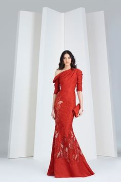 175e735a8325 Scarlet red evening dress in organza cloqué with an asymmetrical neckline  and silk embroideries.