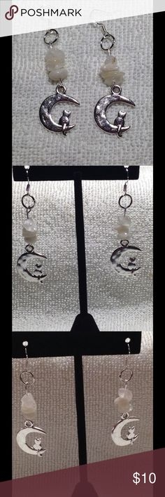 ‼️PRICE DROP‼️ Moonstone Cat Earrings 925 Hooks These lovely earrings are made with natural moonstone chips and silver toned charms. The hooks are sterling silver. These earrings and all PeaceFrog jewelry items in my closet are handmade by me! PeaceFrog Jewelry Earrings