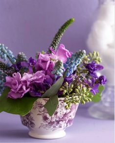 """""""Muscari and Veronica"""" Flowers in a Purple Tea     