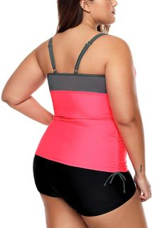 Swimming Suit Swimsuits for Women Low Cut Tankini with Strings Decorations Mid Waist Flat Pant Two-Pieces Swimwear (Color : Pink, Size : XXL) Plus Size Tankini, Women's Plus Size Swimwear, Two Piece Swimwear, Plus Size Beach Wear, Bathing Suits One Piece, Plus Size Fashion For Women, Plus Size Outfits, Hawaii Fashion, Fashion Swimsuits