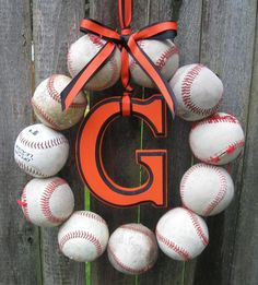 Baseball Love Wreath - With Letter and it would be cute as softballs with girls first letter of her name in her bedroom or on her door!