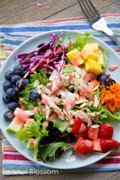 Awesome summer salad for mom, with great ideas for getting the kids to dig in too. Be sure to check out the homemade strawberry vinaigrette recipe, I want to drink it with a straw! YUM.