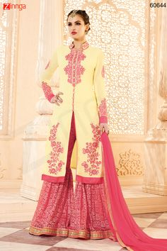 Cream Color Georgette Incredible Salwar Kameez in Achkan Style. Message/call/WhatsApp at +91-9246261661 or Visit www.zinnga.com