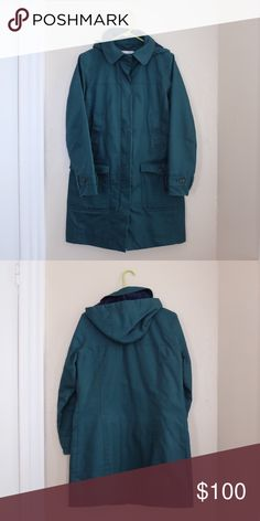 Boden Mac Raincoat Emerald green Boden brand Mac raincoat with removable hood, zip closure, fleece lining, snaps and pockets. Size 8 US / size 12 UK Boden Jackets & Coats Trench Coats
