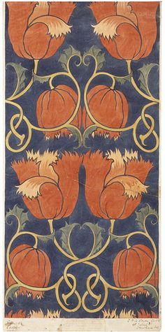 Design for a printed textile by C.F.A. Voysey